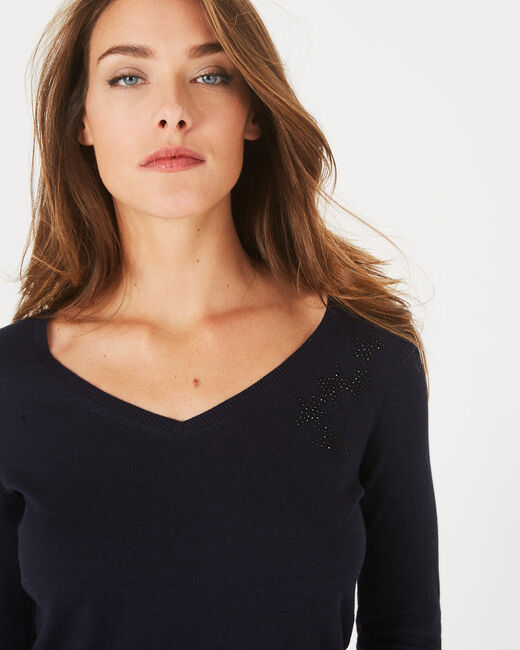 Planète navy sweater with V-neck and diamante (2) - 1-2-3
