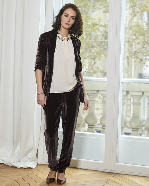 Hibou dark red slim-cut velour trousers (1) - 1-2-3