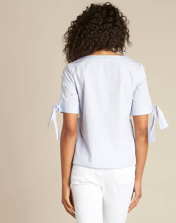Himmelblaue Bluse mit Perlen Glamour (4) - 1-2-3