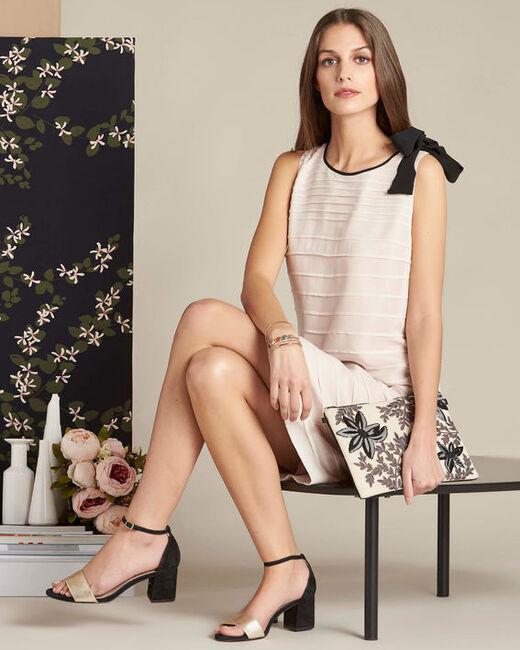 Puderfarbenes Volant-Kleid aus Seide Ines (2) - 1-2-3