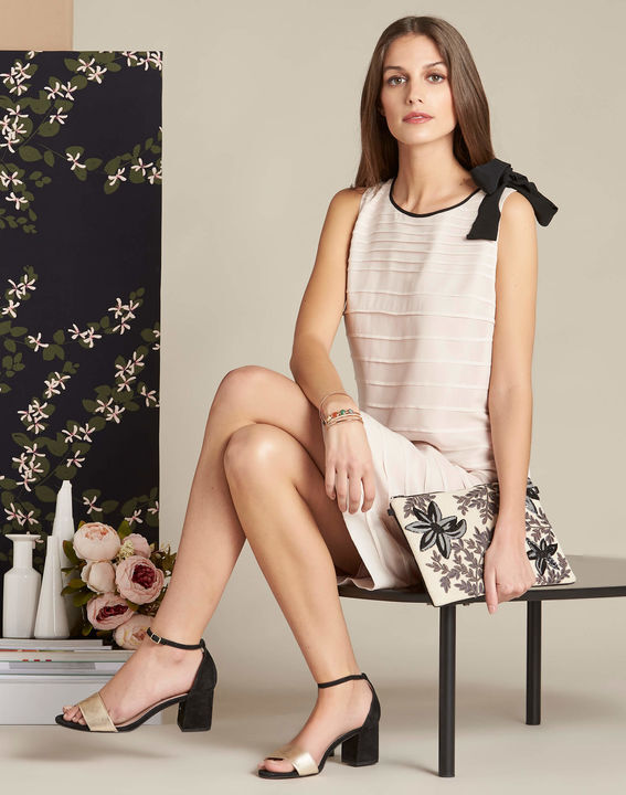 Ines silk pale pink dress with frilled detailing (3) - 1-2-3