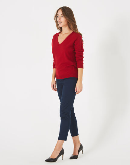 Piment red cashmere sweater with V-neck (1) - 1-2-3