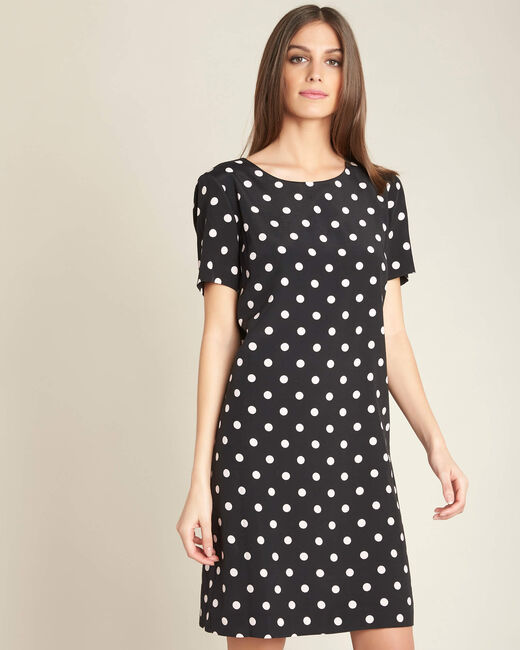 People black straight-cut polka-dot dress (2) - 1-2-3