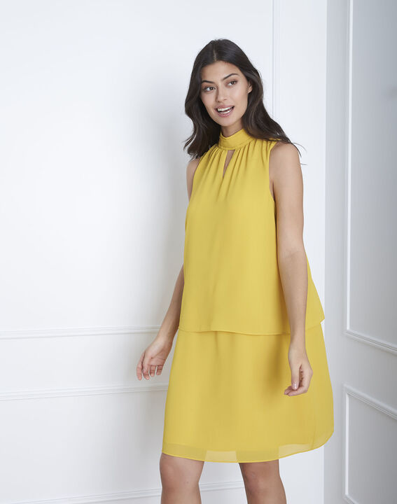 Robe jaune col montant Heloise PhotoZ | 1-2-3