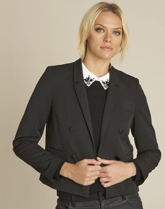 Sarah short black crossover jacket black.