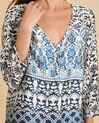 Douna navy blue blouse with floral print (1) - 1-2-3