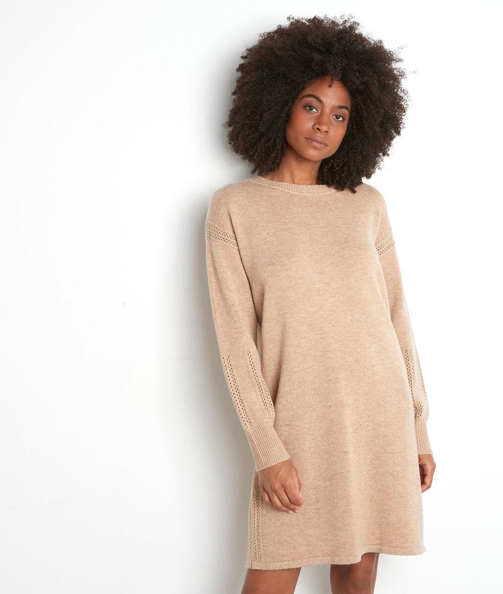 Beige trui-jurk van wol Tabata PhotoZ | 1-2-3