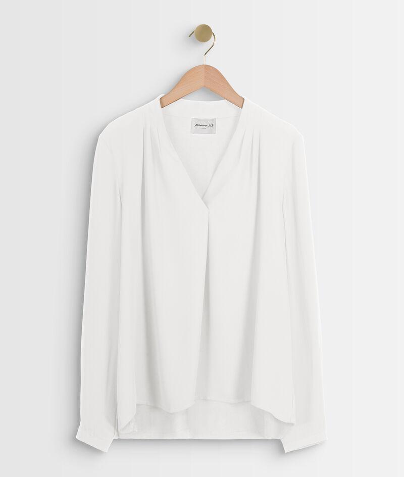 Witte blouse uit twee materialen met V-hals Davina PhotoZ | 1-2-3