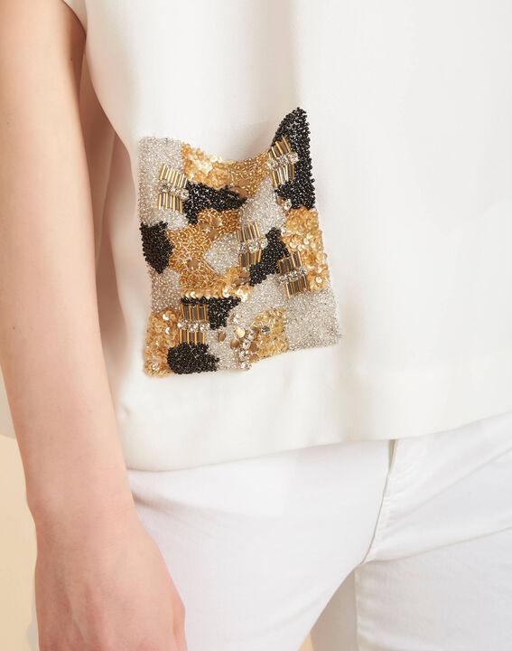 Ecrufarbenes T-Shirt mit Perlentasche Gwen PhotoZ | 1-2-3