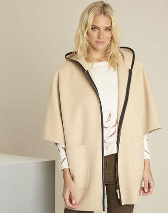 Camelfarbener mantel mit kapuze aus wollgemisch eden havanabraun.