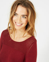 Pergola burgundy openwork sweater bordeaux.