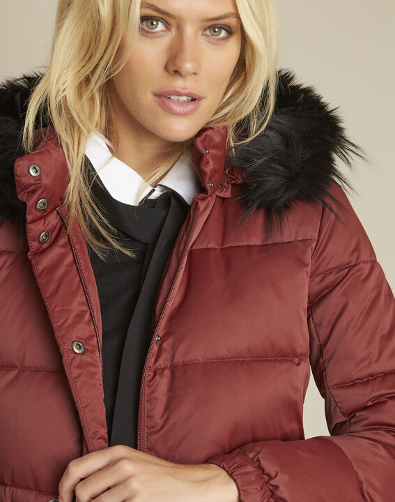 Peggy red hooded down jacket with pull cord (3) - Maison 123