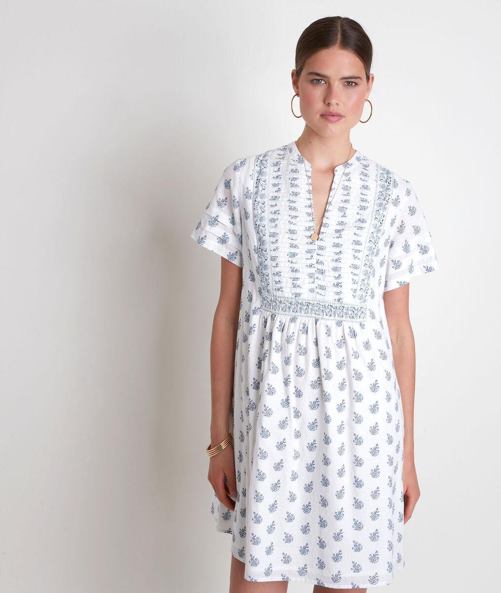 Robe courte en coton imprimé blanc et marine Soledad PhotoZ | 1-2-3