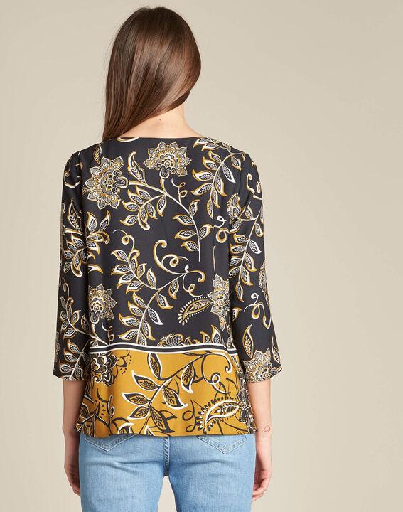 Schwarze Bluse mit Blumenprint Domino (4) - 1-2-3