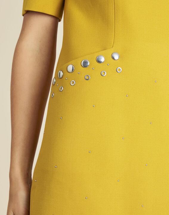 Gele compacte jurk met studs aan de zakken Daisy (3) - 37653