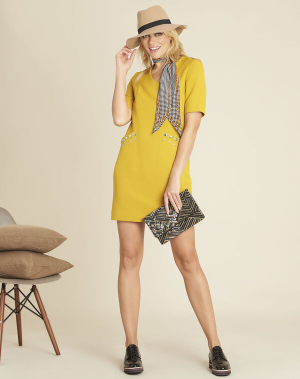 Daisy short yellow dress with studded pockets (2) - 1-2-3