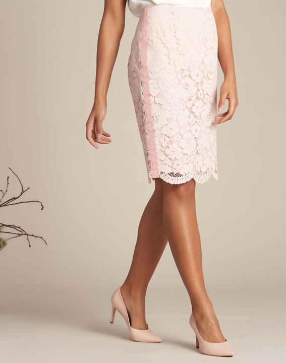 Lantana nude straight-cut skirt in lace (3) - 1-2-3