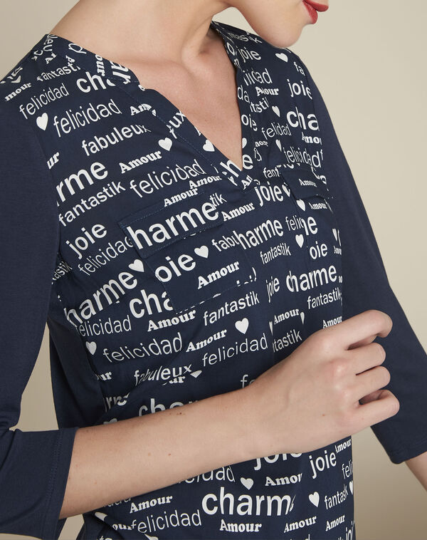Amour navy printed blouse (2) - 1-2-3