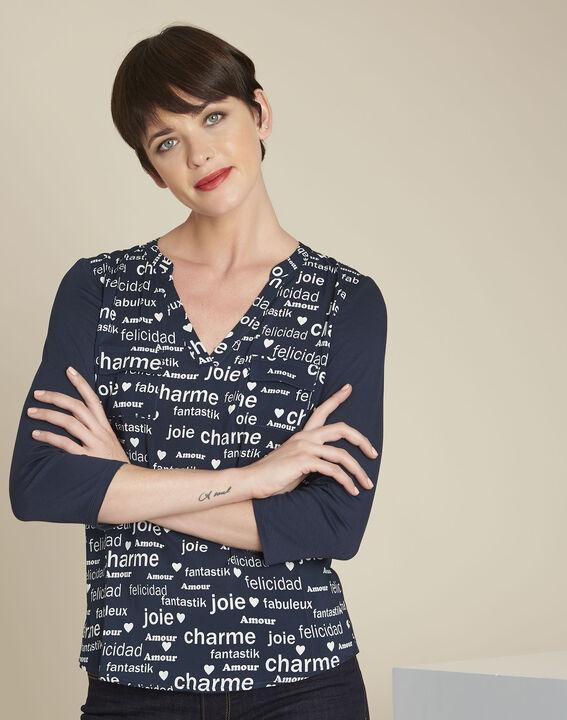 Donkerblauwe blouse met print Amour PhotoZ | 1-2-3