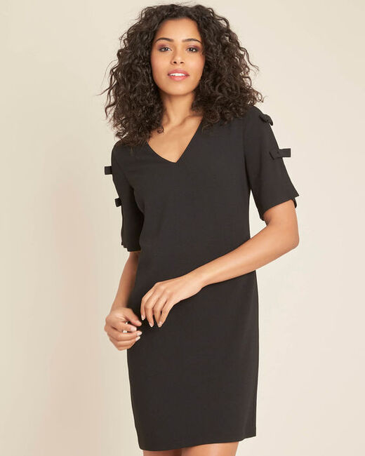 Ivoire black crepe dress with bows (2) - 1-2-3