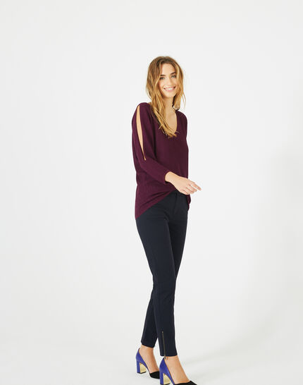 Pandore shiny blackcurrant sweater with bare arms (5) - 1-2-3