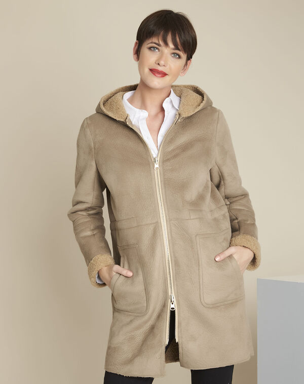 Eleanor ecru suedette effect coat (1) - 1-2-3