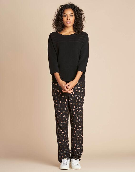 Fantasievoller schwarzer Pullover mit transparenten Streifen Hypnose (2) - 1-2-3
