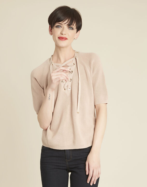 Boheme pink sweater with lacing and eyelets on the neckline PhotoZ | 1-2-3
