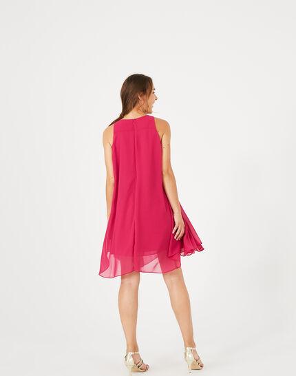 Fuchsienrotes Kleid mit Blume an der Schulter Garance (4) - 1-2-3