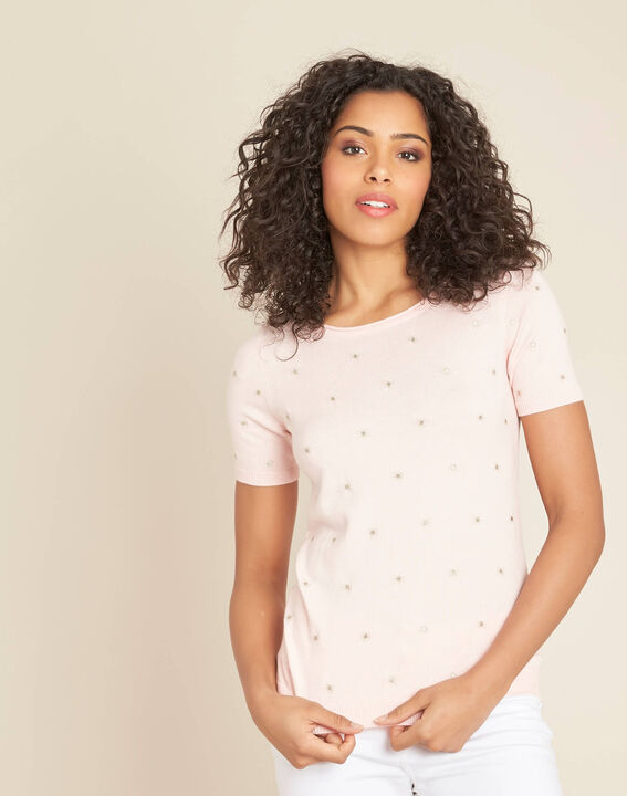 Nebuleuse pale pink sweater with embroidered constellation (3) - 1-2-3