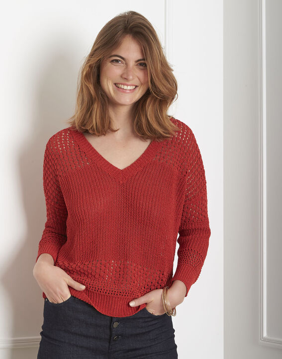 Pull rouge maille ajourée Alba PhotoZ | 1-2-3