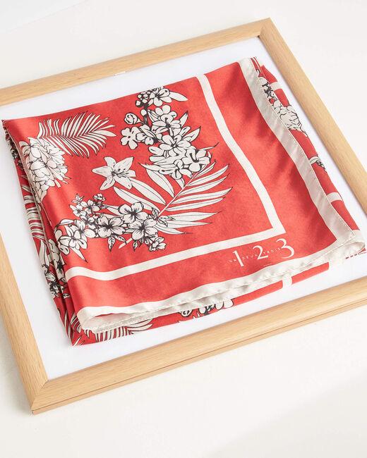 Carré de soie rouge imprimé arabesque et fleur Alak (1) - 1-2-3