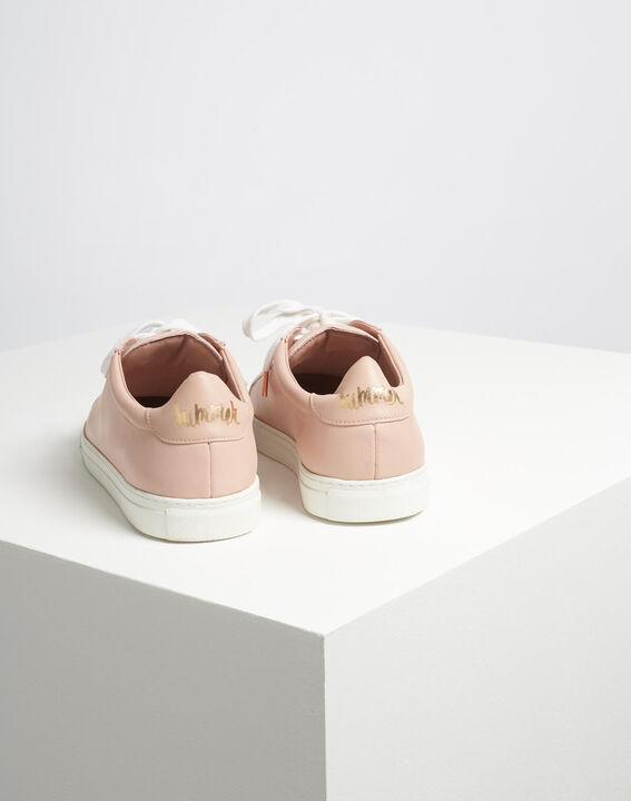 Puderfarbene Leder-Sneakers mit goldenem Siebdruck Kennedy (5) - 1-2-3