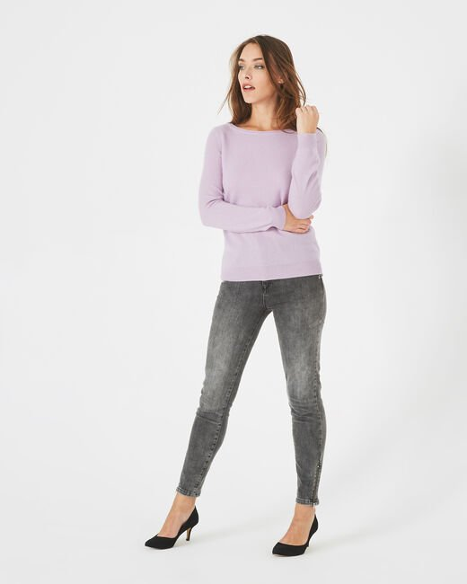 Petunia mauve cashmere sweater with round neck (2) - 1-2-3