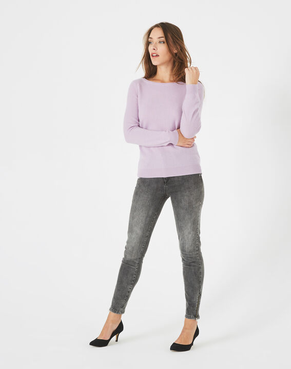 Petunia mauve cashmere sweater with round neck (2) - 1-2-3