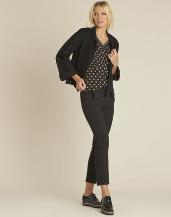 Charlie black blouse with yellow polka dots black.