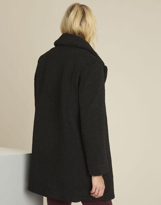 Manteau noir aspect laine bouillie Elvire (4) - 1-2-3