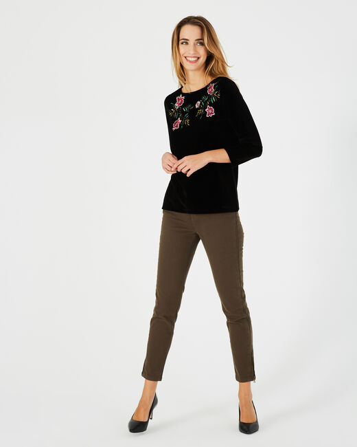 Bardane black T-shirt with embroidered flowers (1) - 1-2-3
