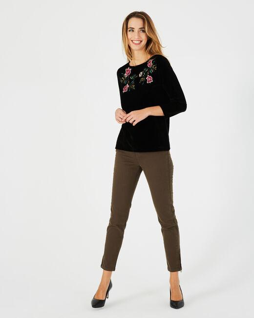 Tee-shirt noir brodé fleurs Bardane (1) - 1-2-3