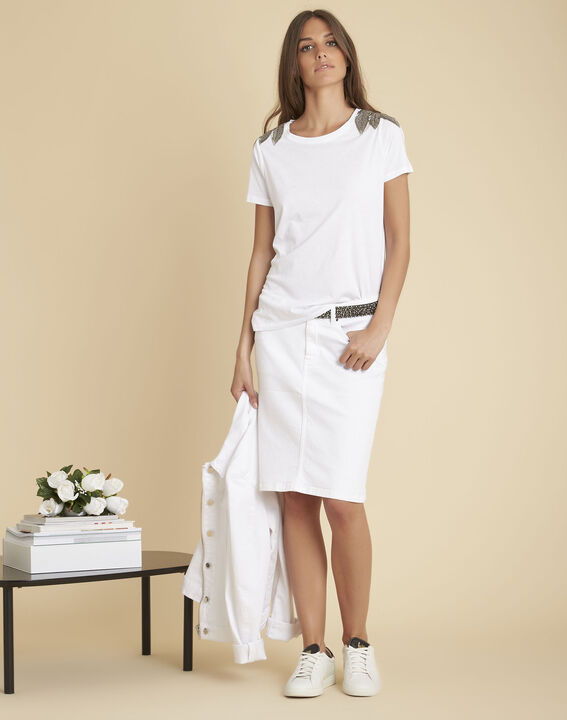 Epique white T-shirt with embroidered detailing on the shoulders (2) - Maison 123
