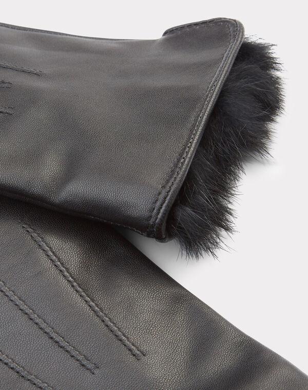 Gants noirs en cuir et fourrure zakary à