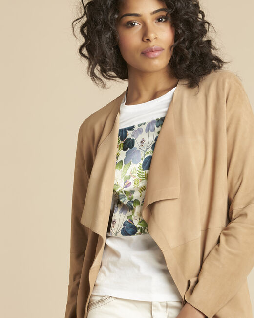 Veste beige waterfall 3/4 cuir velours Gaston (2) - 1-2-3