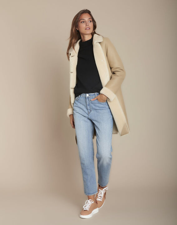 Manteau beige en peau lainée Tina PhotoZ | 1-2-3