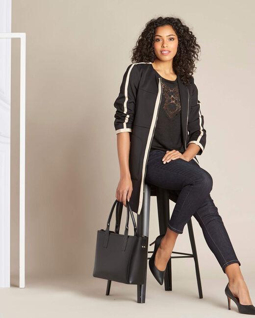 Kolin two-tone black and beige straight-cut coat (1) - 1-2-3