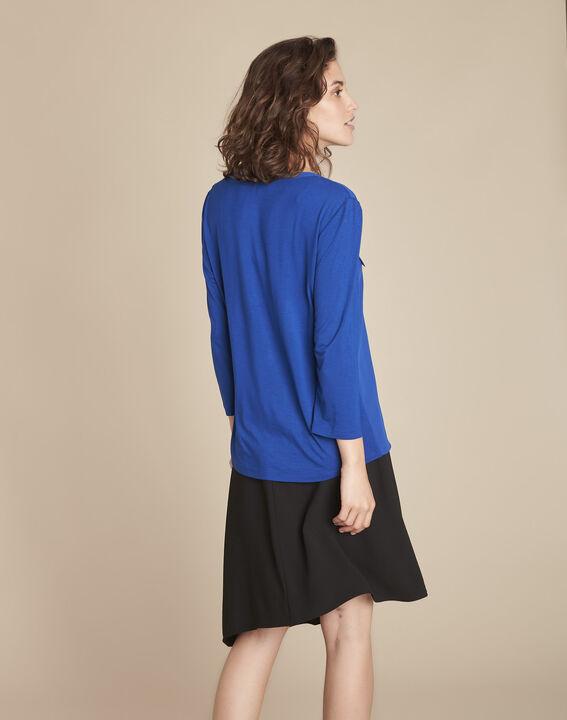Blauwe blouse uit twee materialen Genna (4) - Maison 123