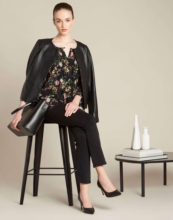 Schwarze Bluse mit Blumenprint Anouchka (2) - 1-2-3