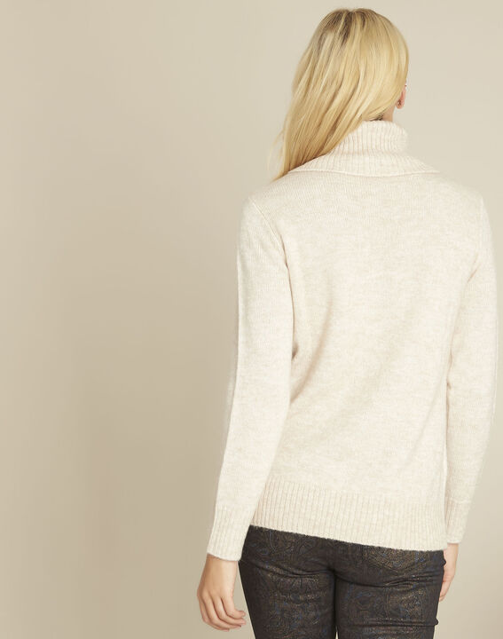 Bloom cream turtleneck pullover with embroidery (4) - Maison 123