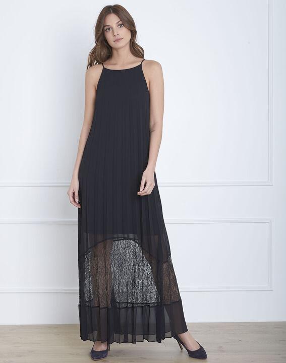 Robe noire plissée longue dentelle Hedda (2) - Maison 123