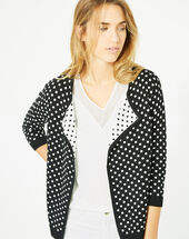 Parade black and white knitted jacket with polka dots black.