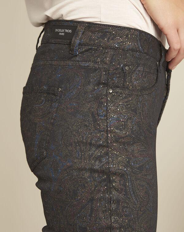 Vendome black slim-cut 7/8-length printed jeans (2) - 1-2-3